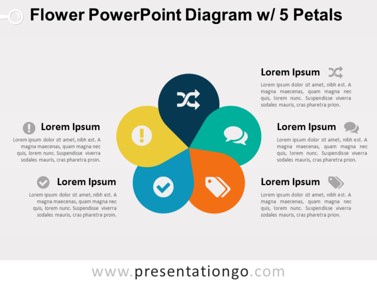 Flower Diagram with 5 Petals for PowerPoint