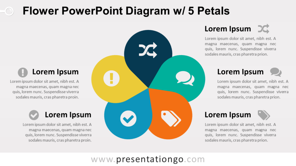 Flower Diagram with 5 Petals - PowerPoint Template