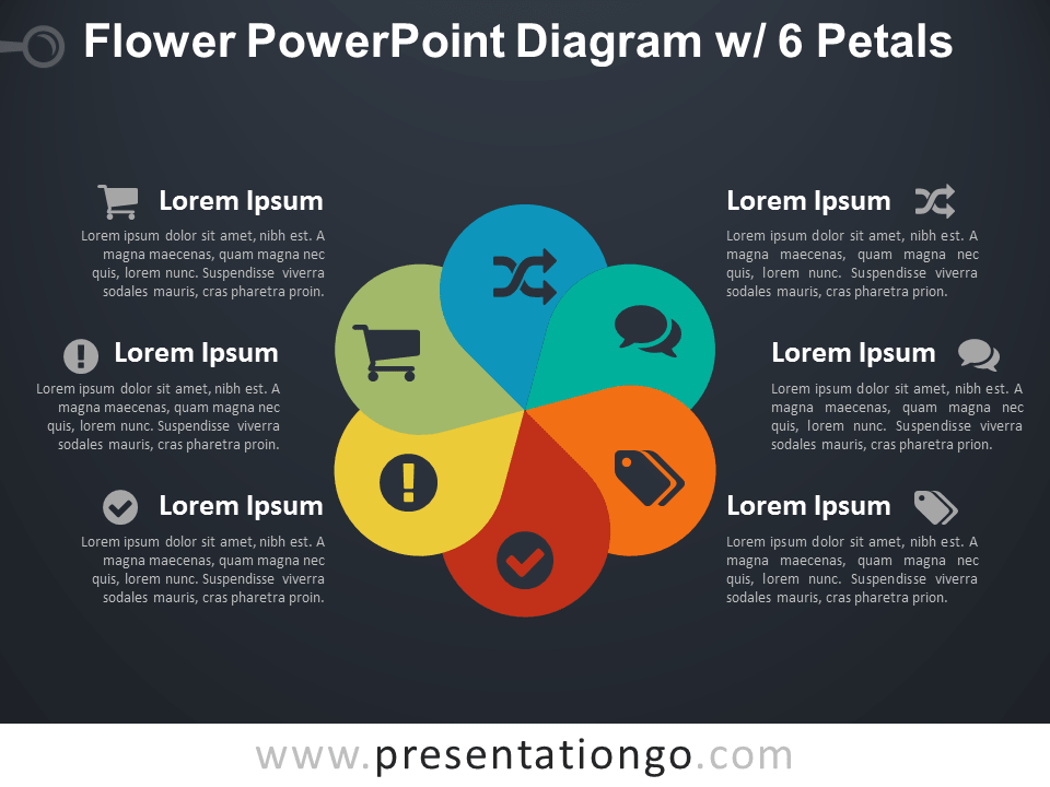 Flower Diagram with 6 Petals for PowerPoint - Dark Background
