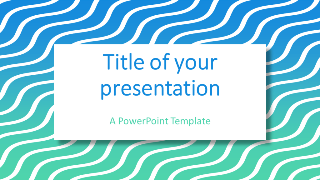 Blue Green Gradient Wavy Pattern Abstract PowerPoint Template