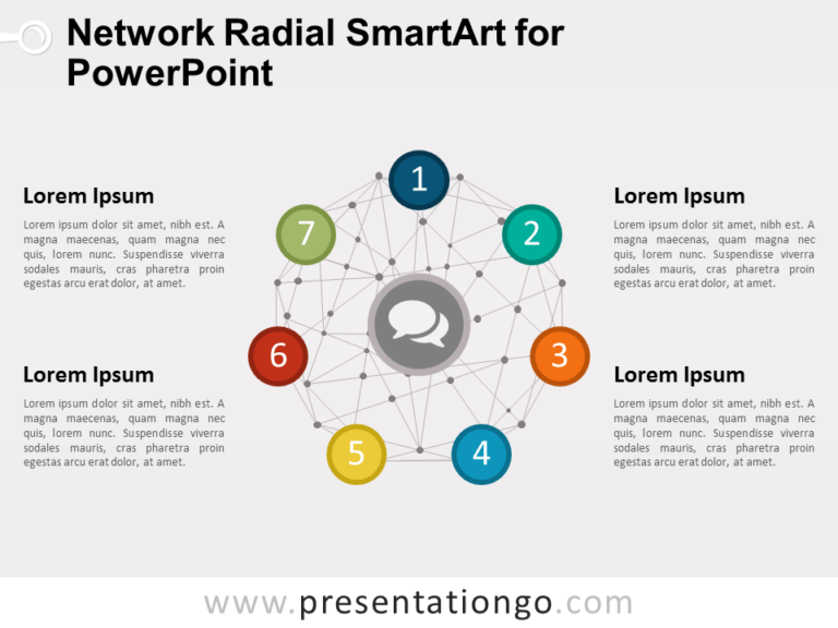 Radial SmartArt with Network Wire-frame Sphere for PowerPoint
