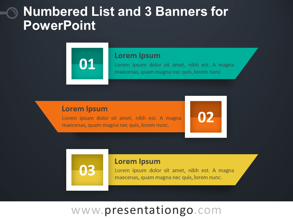 Numbered List with 3 Banners for PowerPoint - Dark Background