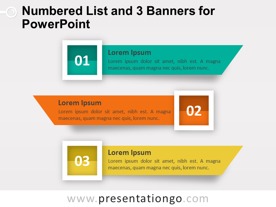 Numbered List And 3 Banners For Powerpoint