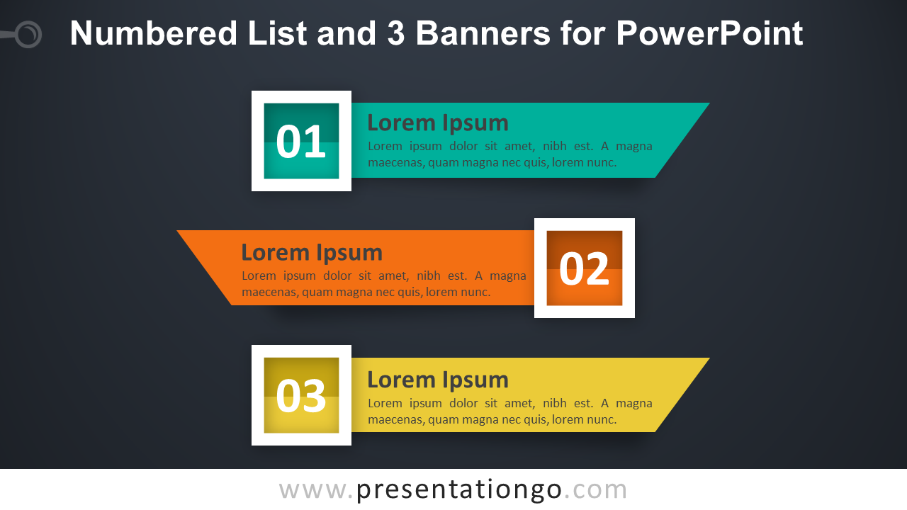 Numbered List with 3 Banners or Ribbons for PowerPoint - Dark Background