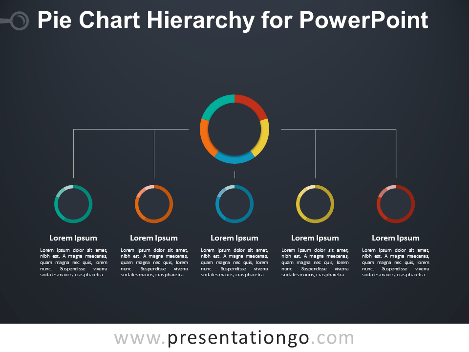 Pie Chart Hierarchy for PowerPoint - Dark Background