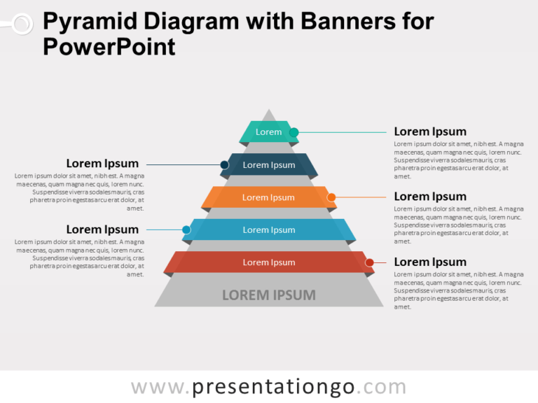 Pyramid Diagram with Banners for PowerPoint
