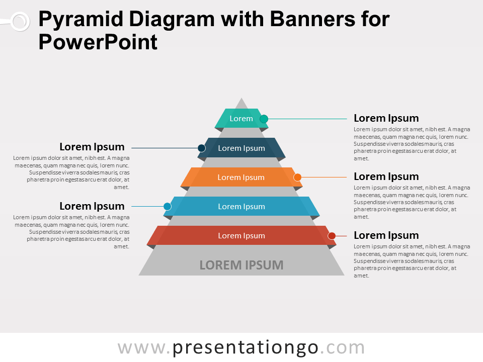 Pyramid Diagram with Banners for PowerPoint - PresentationGO.com