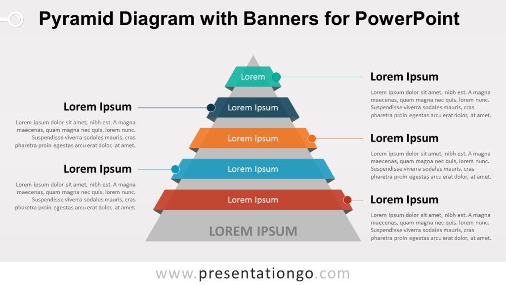 Pyramid Diagram with Banners or Ribbons for PowerPoint
