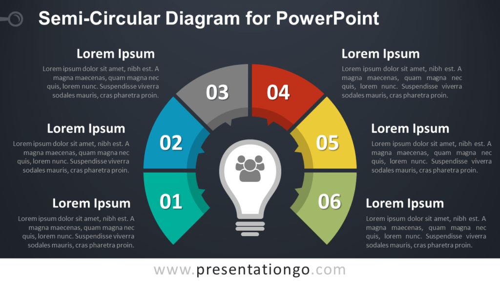 Semi-Circular Diagram with 6 Stages for PowerPoint - Dark Background