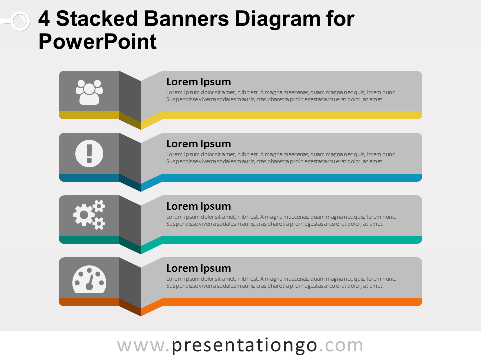 4 Stacked Banners for PowerPoint