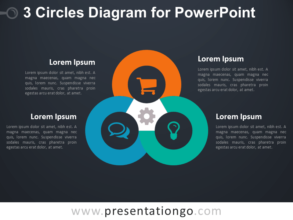 3 Circles Diagram for PowerPoint - Dark Background