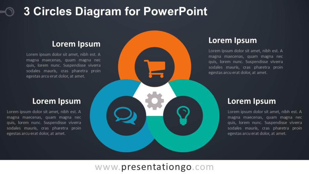 3 Circles PowerPoint Template - Dark Background