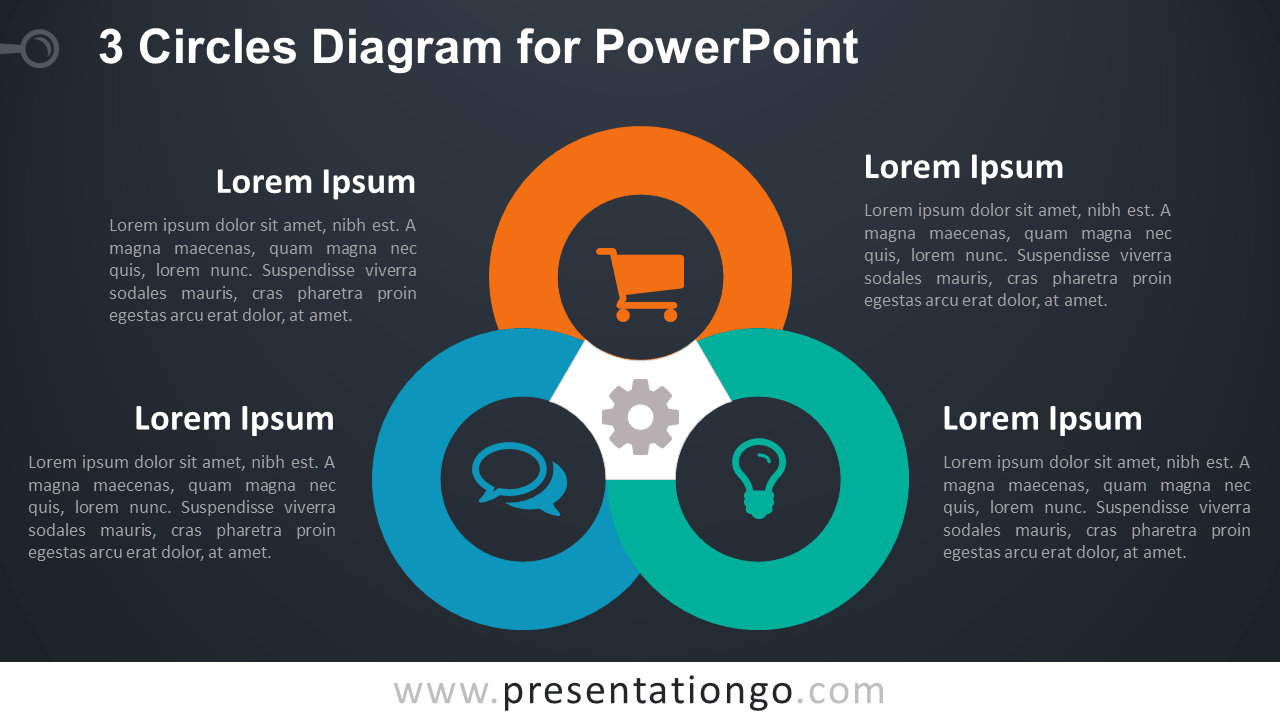 3 Circles PowerPoint Template - Dark Background