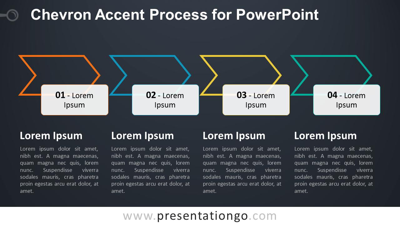 Chevron Process SmartArt PowerPoint Diagram - Dark Background