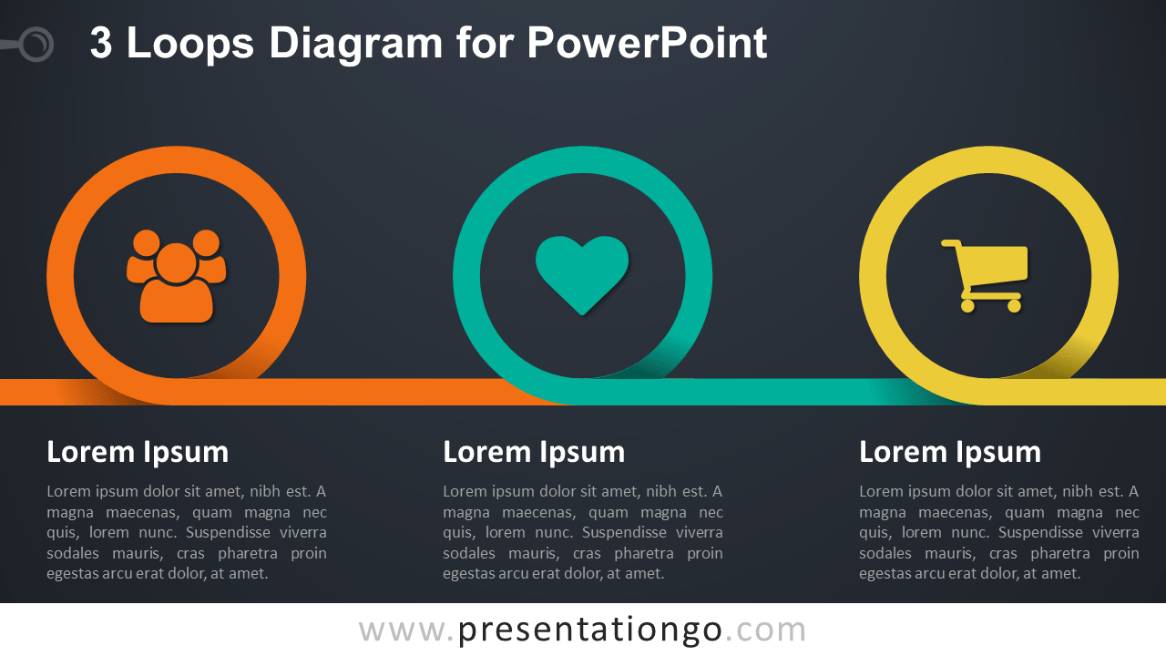 Coil Spring Diagram with 3 Loops for PowerPoint - Dark Background