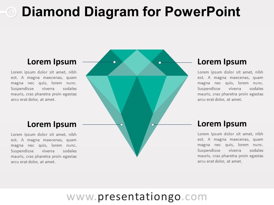 Green Diamond Diagram for PowerPoint