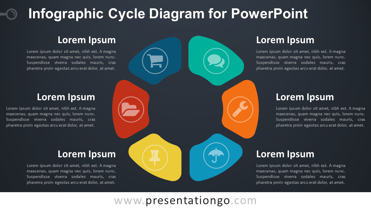 PowerPoint template with infographic cycle diagram - Dark Background