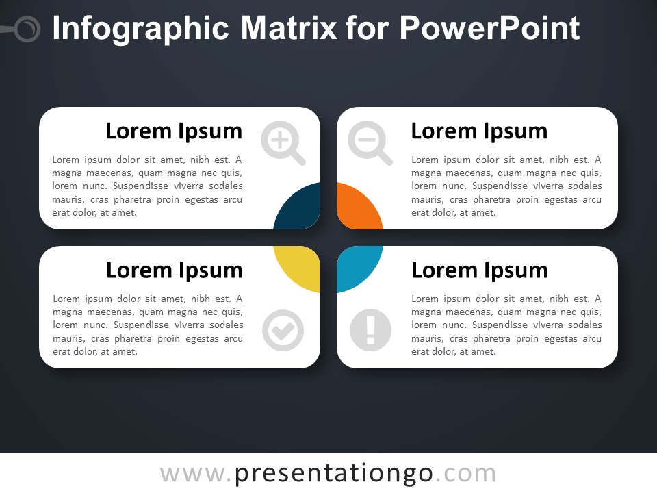 Infographic Matrix Layout for PowerPoint - Dark Background