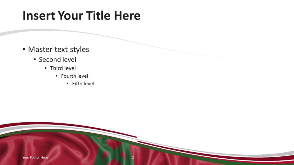 Morocco Flag PowerPoint Template - Title and Content Slide
