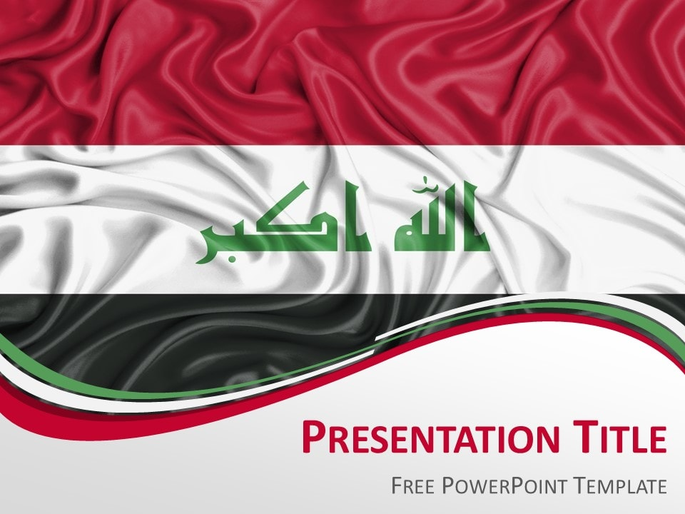 Iraq flag powerpoint template presentationgo powerpoint template with the flag of iraq toneelgroepblik Images