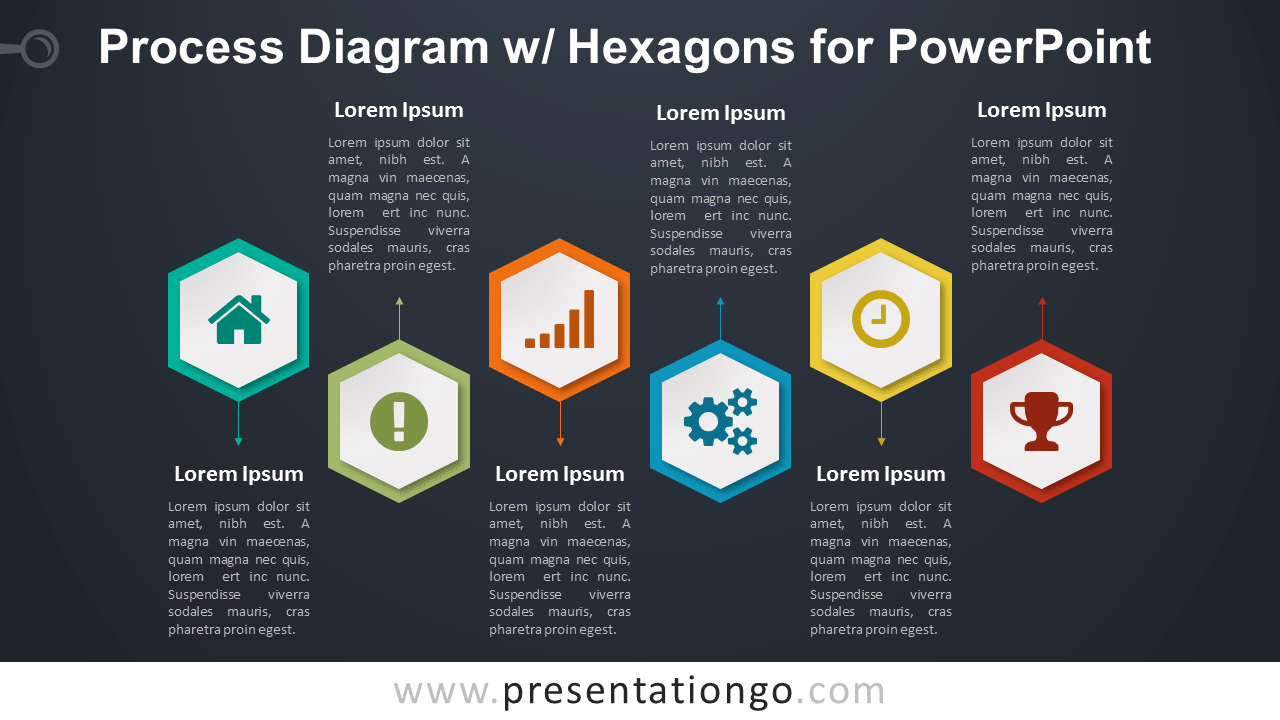 Process with Hexagons for PowerPoint - Dark Background