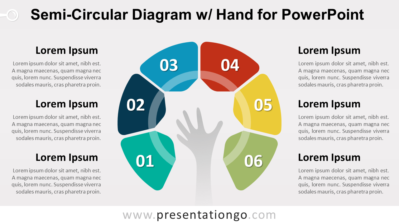 Semi-Circular Diagram with Hand - PowerPoint Template