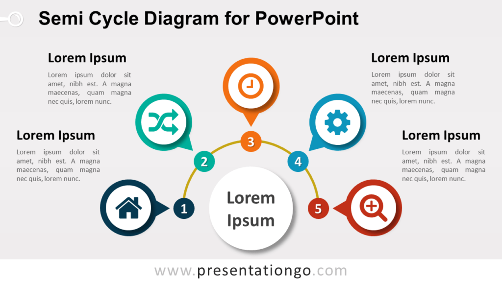Semi-Cycle Diagram PowerPoint Template