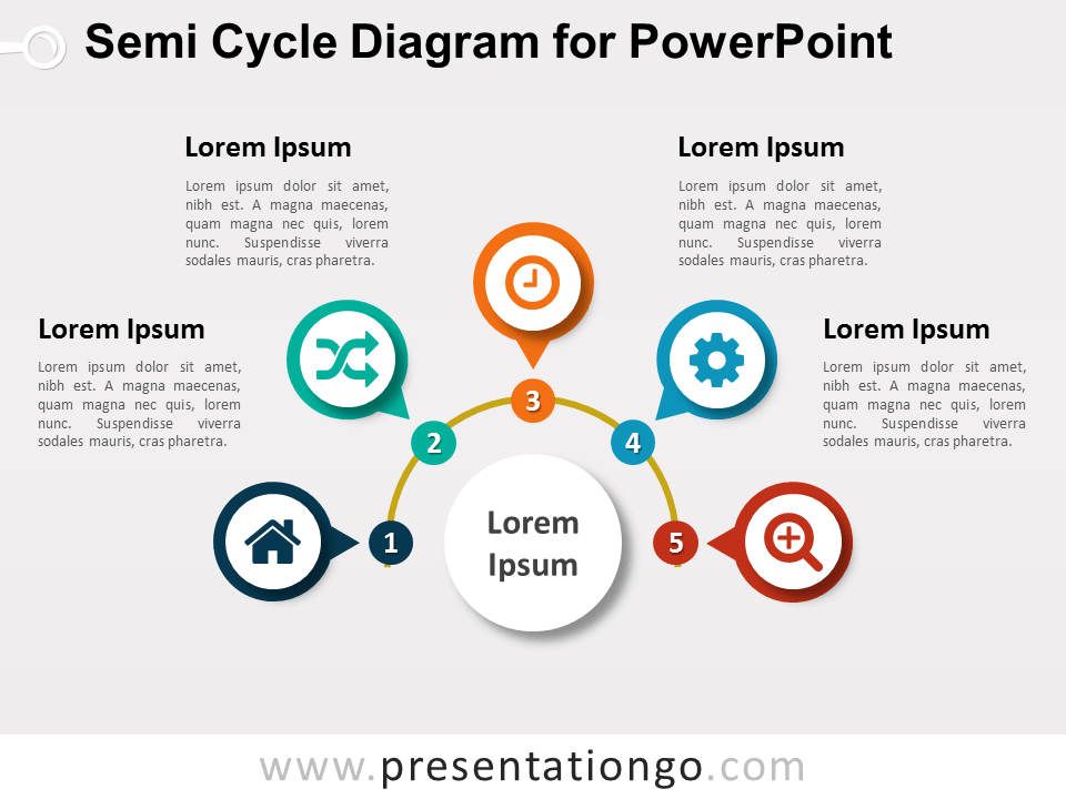 Semi Cycle Diagram For Powerpoint Presentationgo