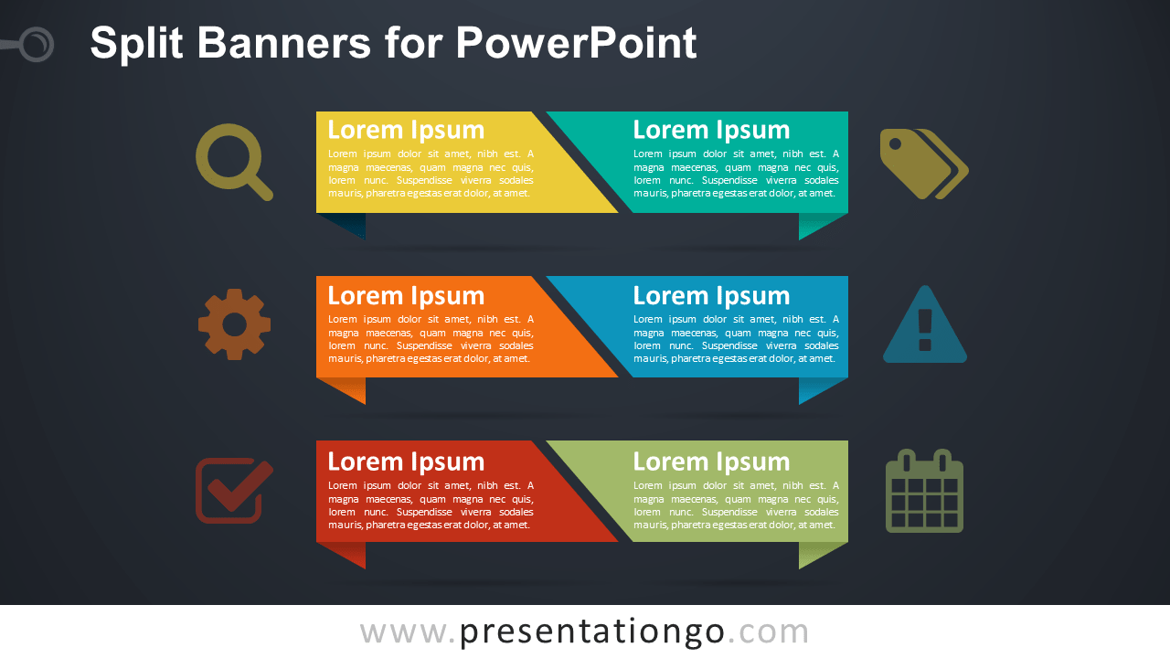 Split Banners PowerPoint Template - Dark Background