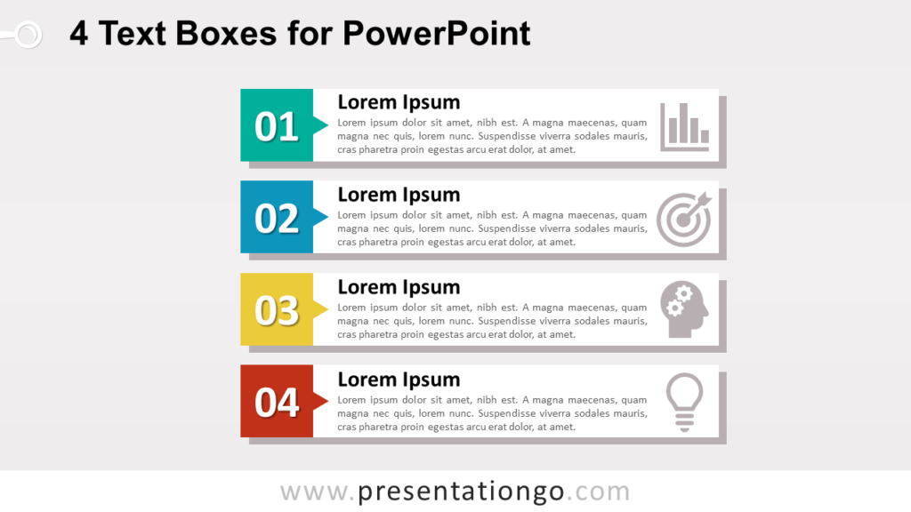 4 Vertical Block Lists for PowerPoint