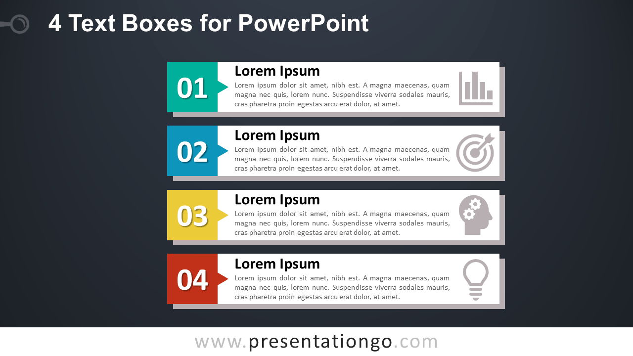 4 Vertical Block Lists for PowerPoint - Dark Background