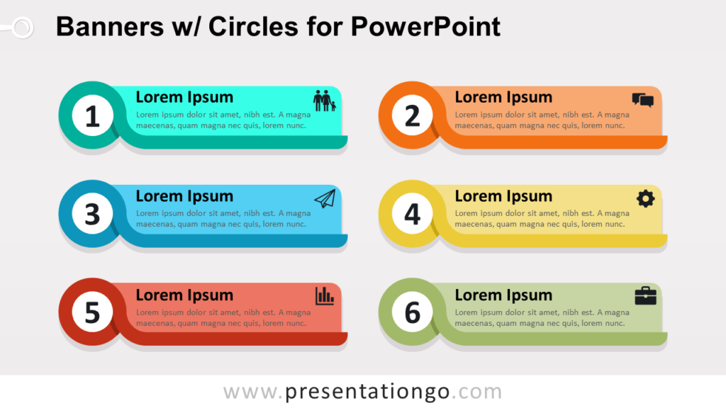 Banners with Circles Text Boxes for PowerPoint