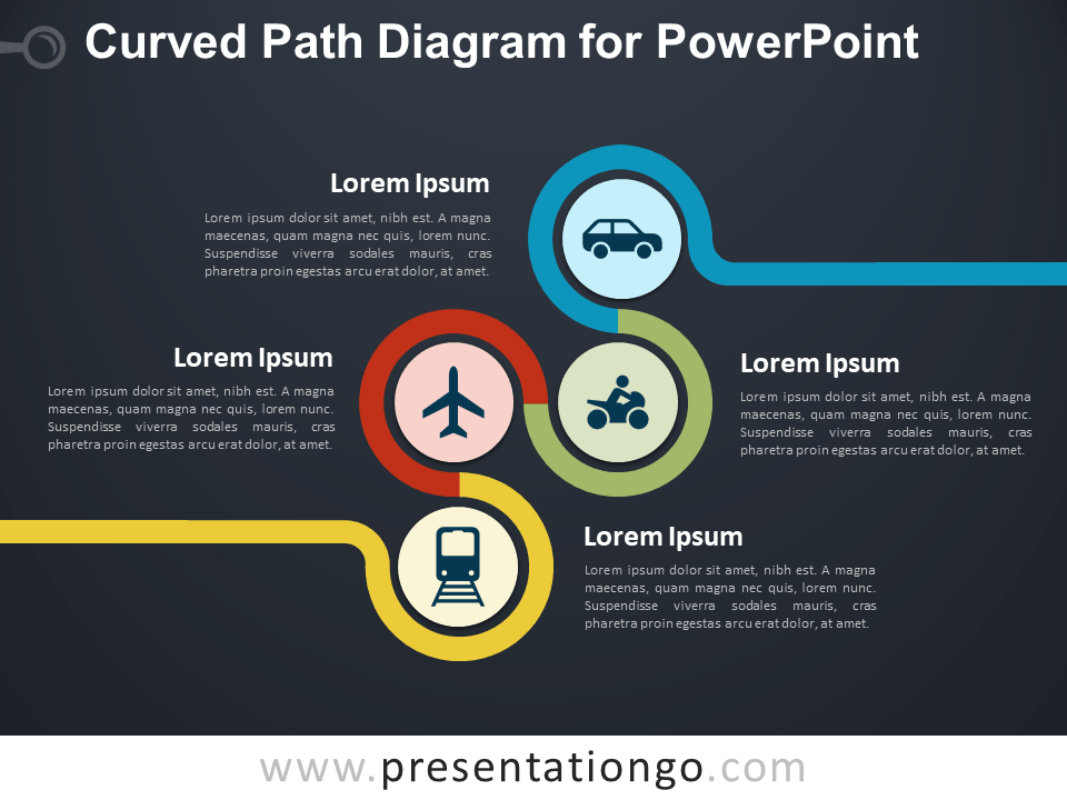 Curved Path Diagram for PowerPoint - Dark Background
