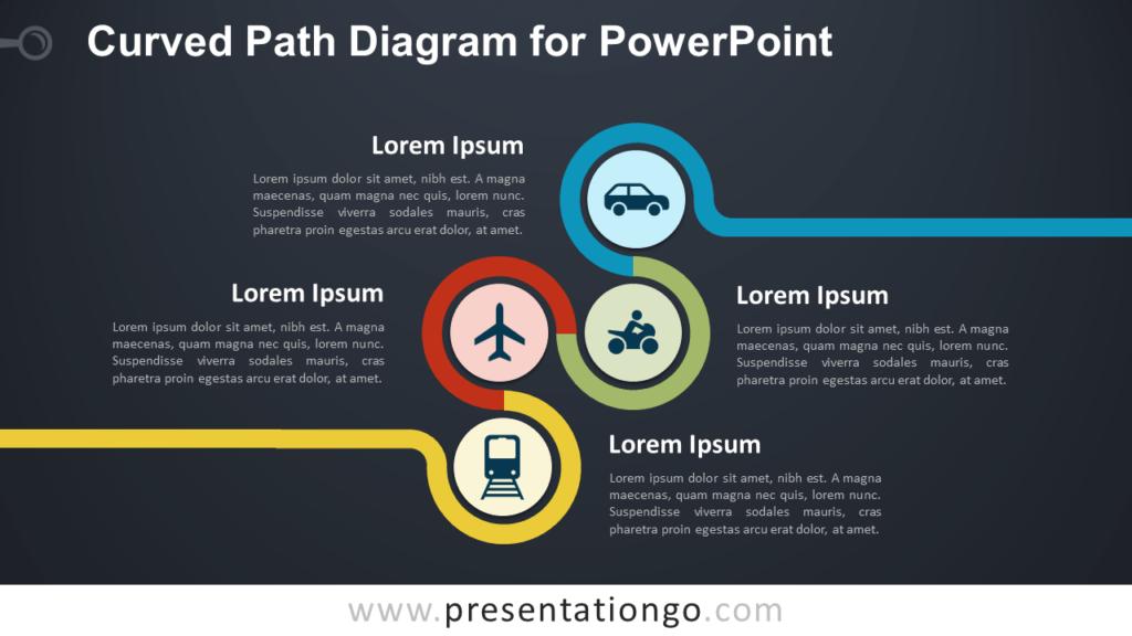 Curved Path PowerPoint Diagram - Dark Background