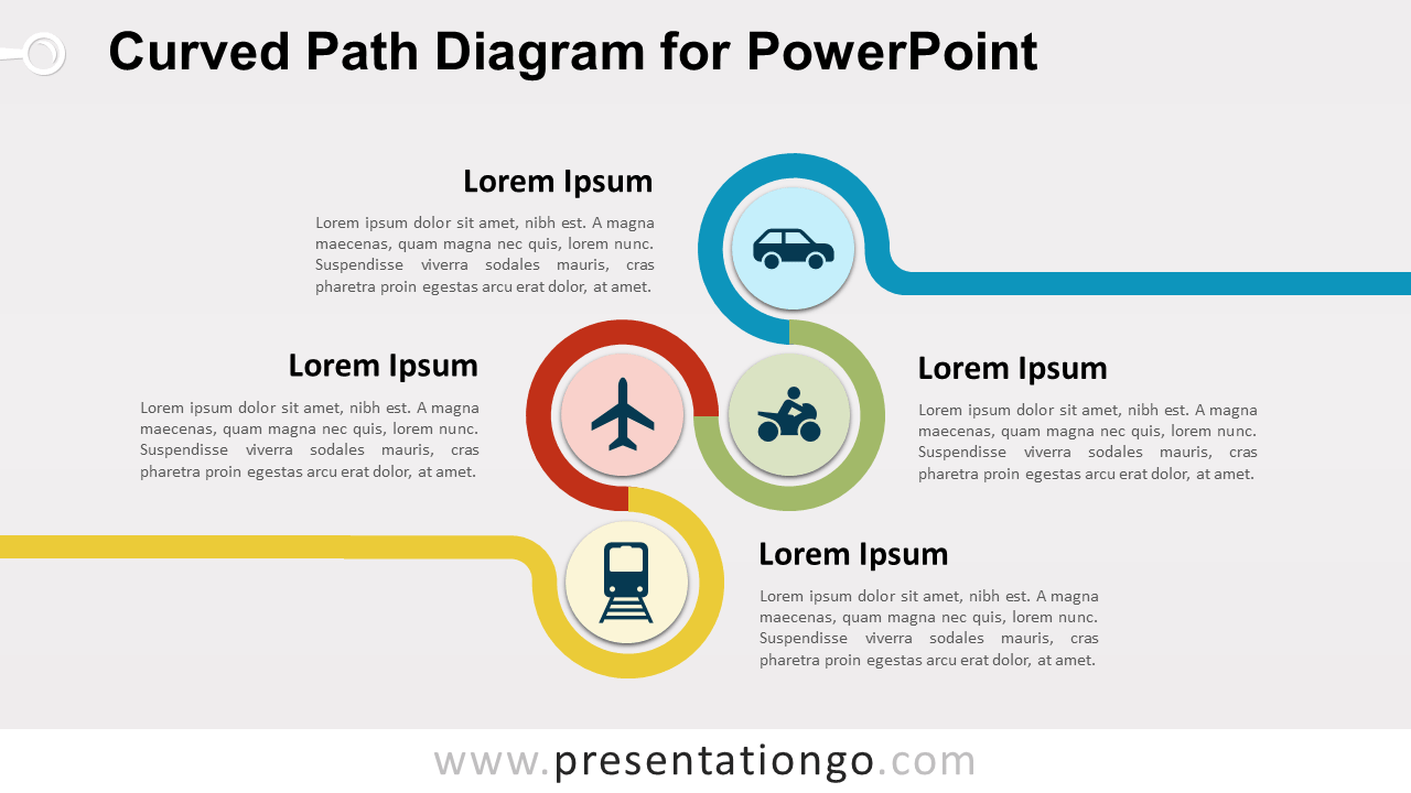 Curved Path PowerPoint Diagram