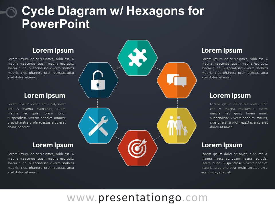 Cycle Diagram with Hexagons for PowerPoint - Dark Background