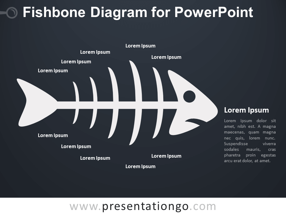 Fishbone Diagram for PowerPoint - Dark Background