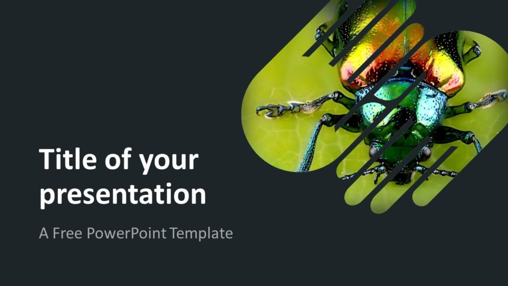 Free PowerPoint Template with 2 Hands - 1 Shape - Dark Background