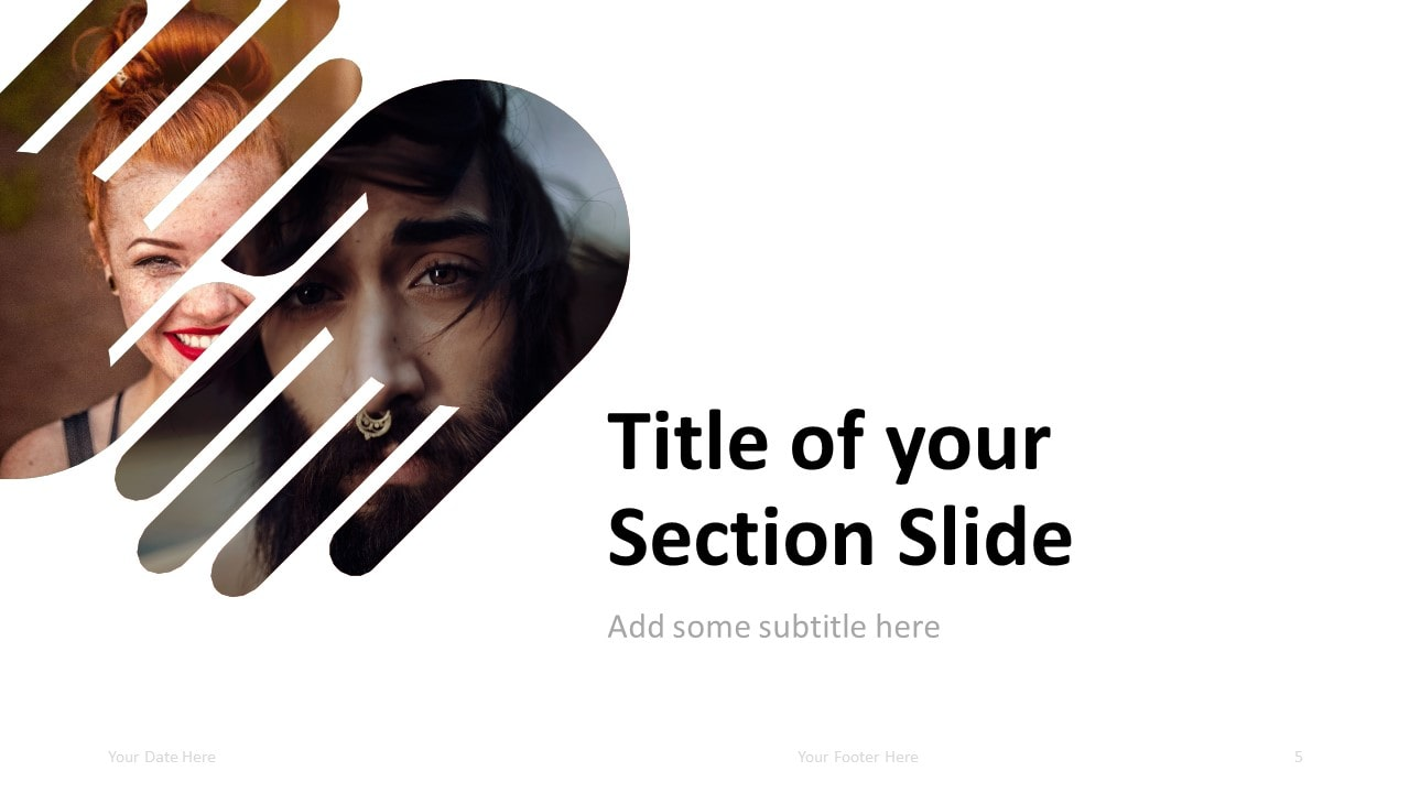 Free PowerPoint Template with 2 Hands - Section Slide