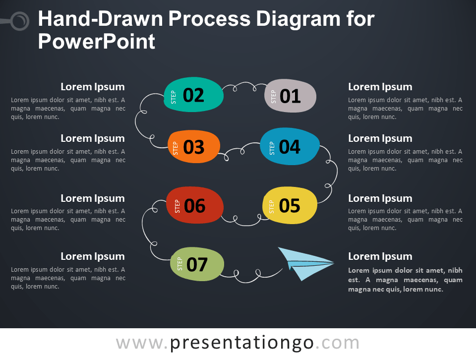 Hand-Drawn Process Diagram for PowerPoint - Dark Background