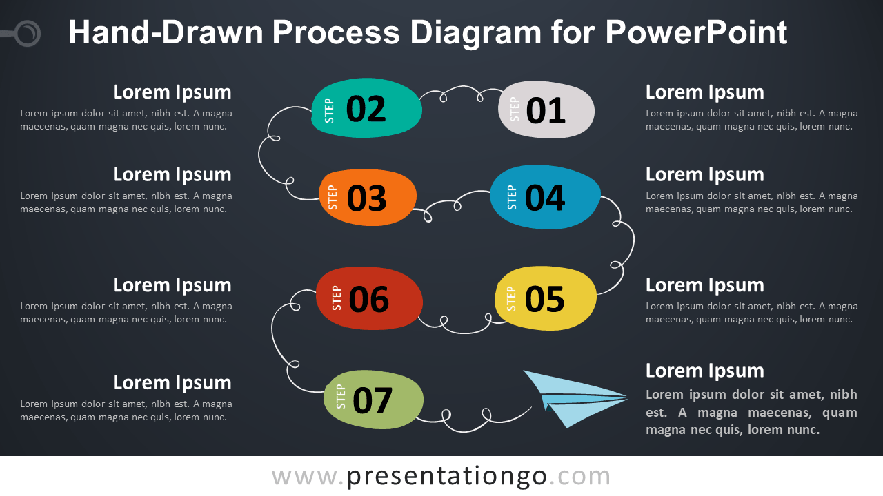 Hand-Drawn Process for PowerPoint - Dark Background