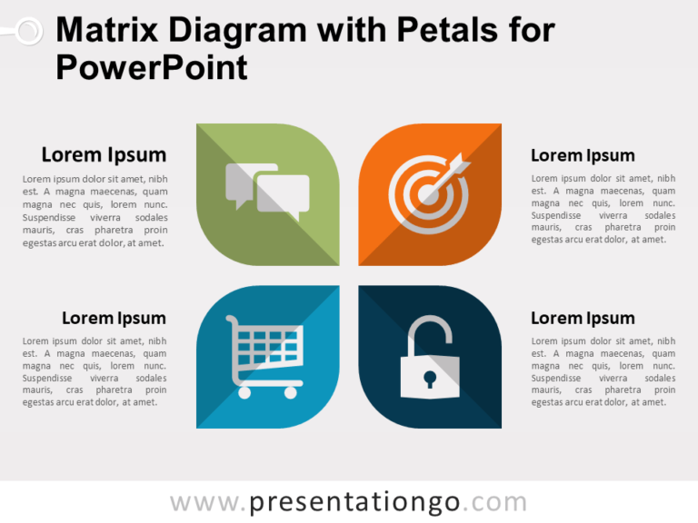 Matrix Diagram with Petals for PowerPoint