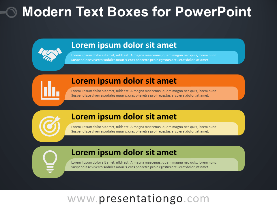 Modern Text Boxes for PowerPoint - Dark Background