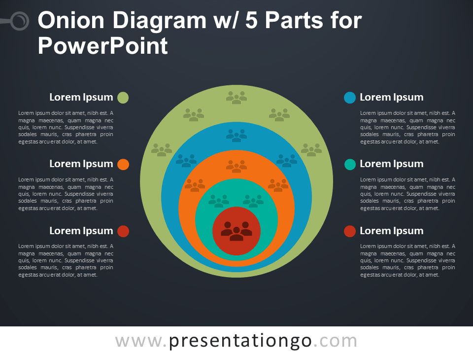Onion Diagram with 5 Parts for PowerPoint - Dark Background