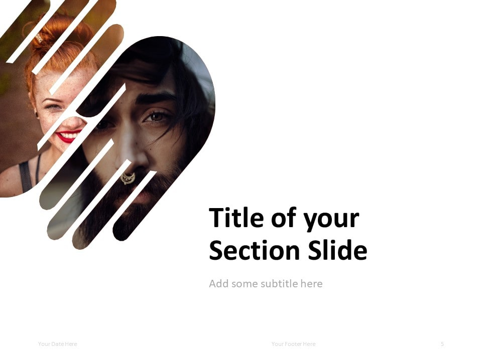 PowerPoint Template with 2 Hands - Section Slide