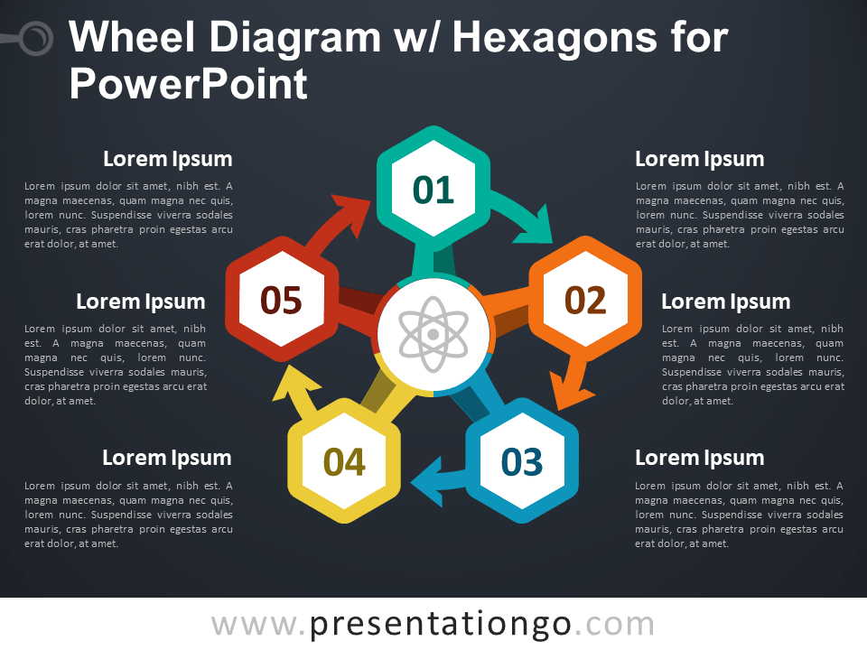 Wheel Diagram with Hexagons for PowerPoint - Dark Background