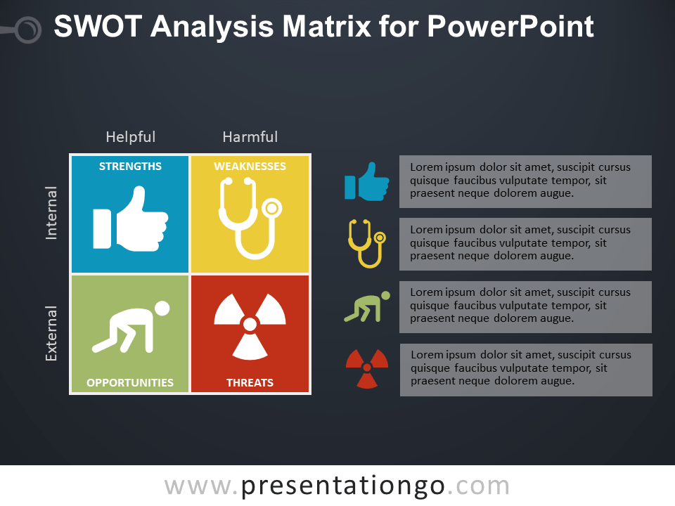 Free SWOT Analysis Matrix for PowerPoint - Dark Background