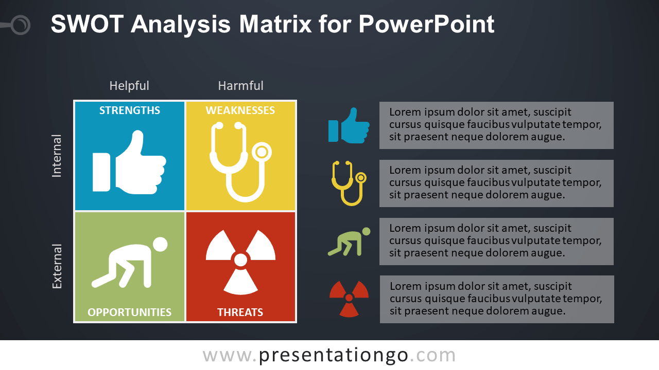 Free SWOT Analysis PowerPoint Template - Dark Background