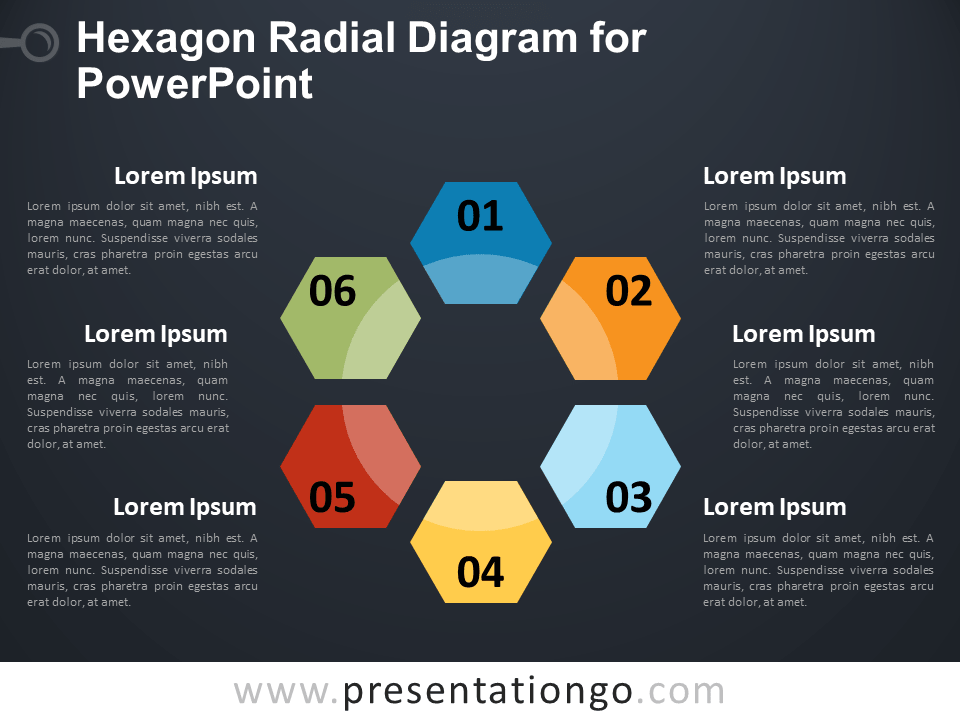 Free Hexagon Radial Diagram for PowerPoint - Dark Background