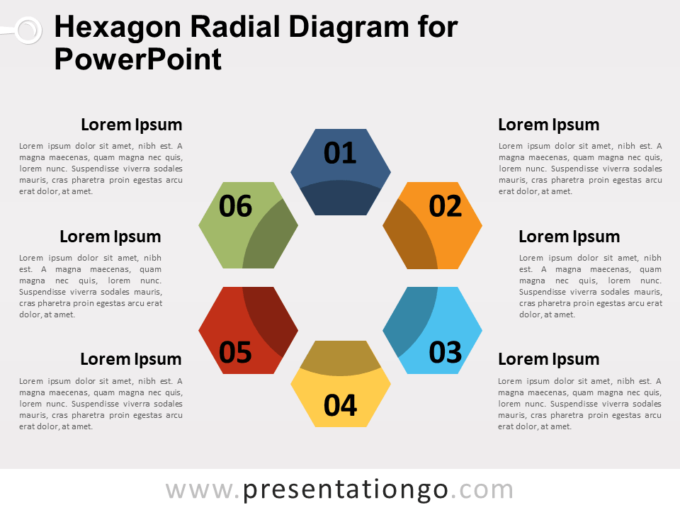 Free Hexagon Radial Diagram for PowerPoint
